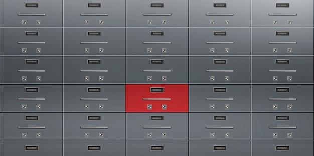 Vector realista de pared de cajas de depósito bancario