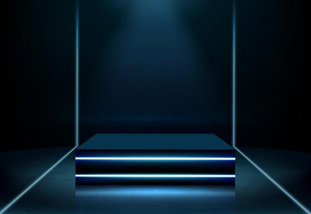 Vector realista de podio cuadrado de neón iluminado