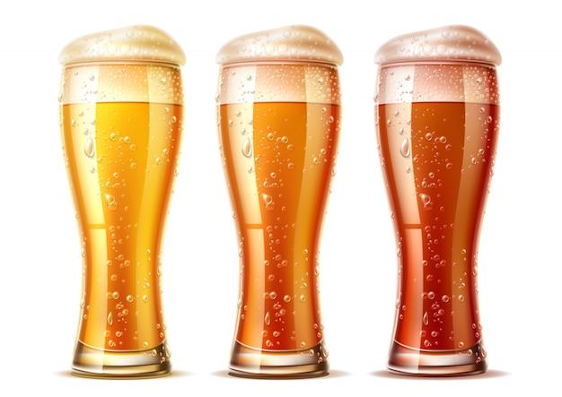 Vector realista vasos de cerveza set lager dark ale
