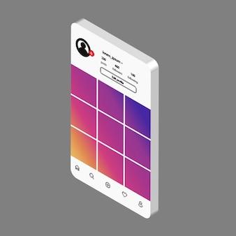 Vector de redes sociales simulacro. plantilla de interfaz para aplicación móvil.