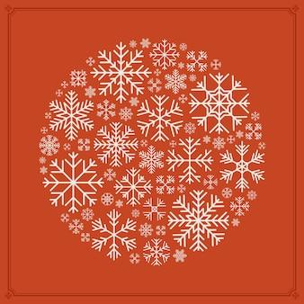 Vector redondo decorado diseño hecho de copos de nieve