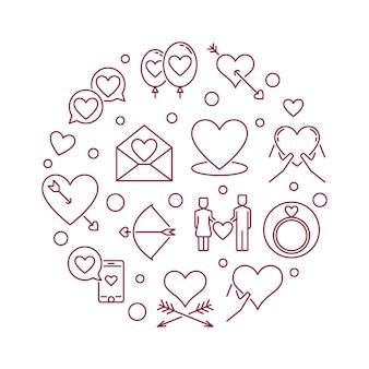 Vector de relación íntima ronda ilustración de contorno