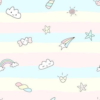 Vector resumen de patrones sin fisuras del concepto de unicornio carácter lindo del arco iris de estrellas del cielo de la nube