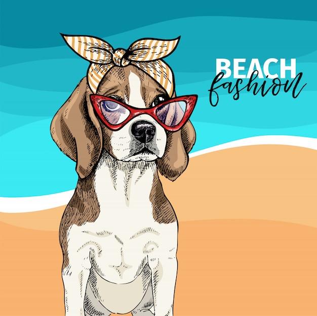 Vector el retrato de las gafas de sol que llevan del perro del beagle, pañuelo retro.