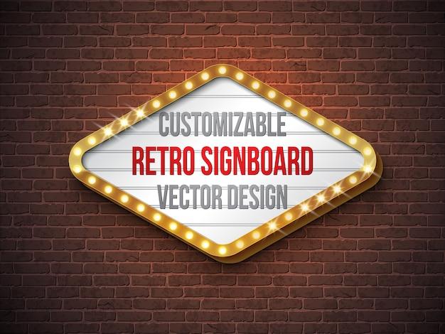 Vector retro letrero o ilustración lightbox