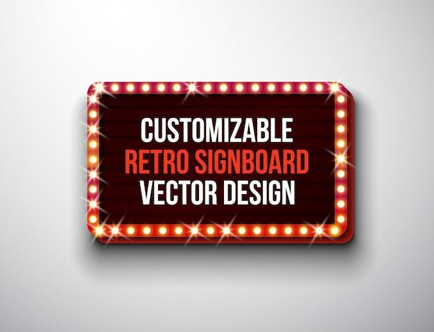 Vector retro letrero o lightbox ilustración
