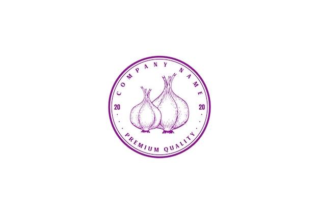 Vector retro vintage cebolla roja insignia emblema logo diseño