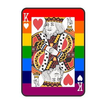 Vector de rey de tarjeta de póker de orgullo lgbt