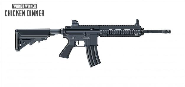 Vector de rifle de asalto aislado sobre fondo blanco