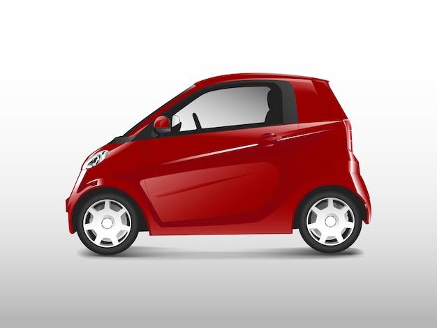 Vector rojo compacto coche híbrido