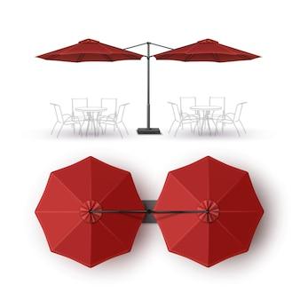 Vector rojo patio blanco con doble playa al aire libre café bar