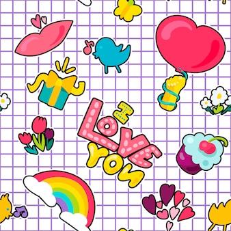 Vector romántico amor parche en estilo doodle