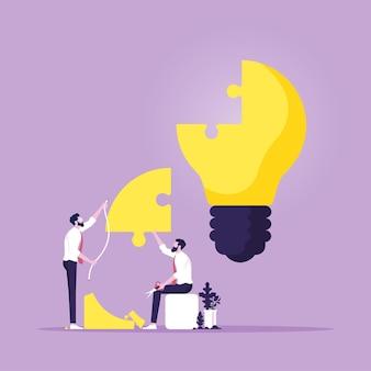 Vector de rompecabezas de bombilla de construcción de trabajo en equipo de negociosencontrar nuevas soluciones y lluvia de ideas