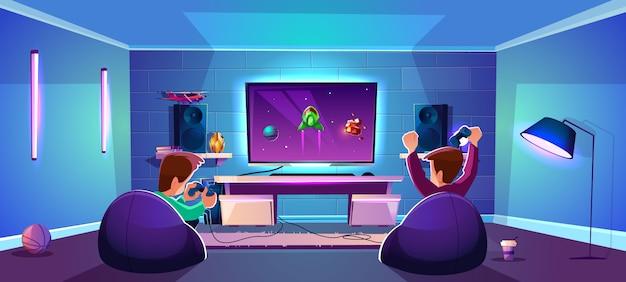 Vector sala de juegos con gente jugando entretenimiento digital, concepto de esports moderno