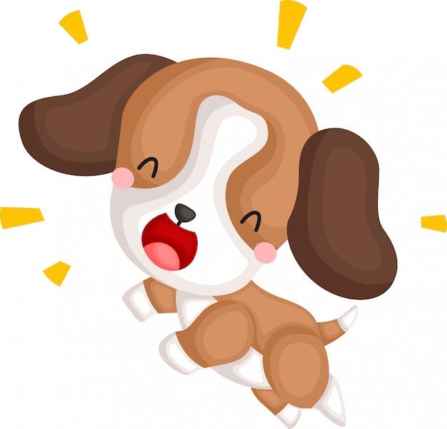 Un vector de un salto de beagle feliz