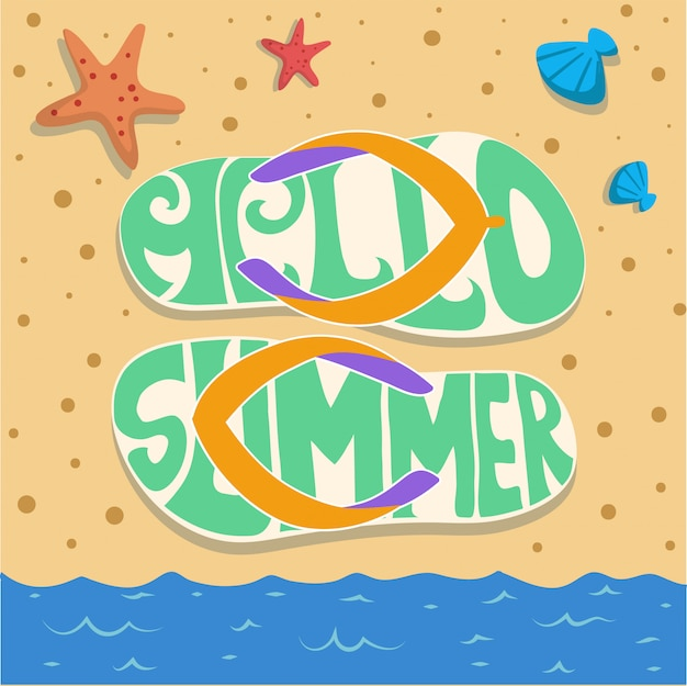 Vector de sandal beach verano fiesta de arena