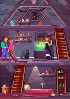 Vector de sección transversal de la casa de la bruja con bodega y ático. juego de misiones, fondo rpg con jugadores,
