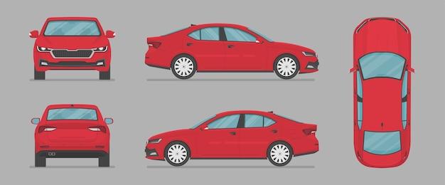 Vector sedán auto coche rojo de diferentes lados