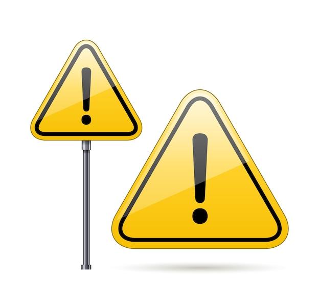 Vector de señal de advertencia de peligro aislado en blanco