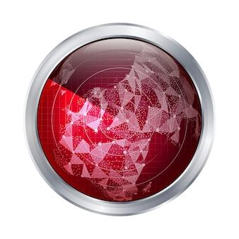 Vector de señal de radar. europa. radar abstracto escanear el mapa del mundo.