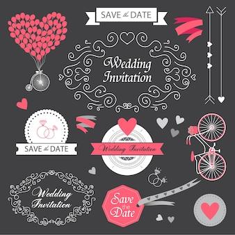 Vector set boda vintage invitación dibujada a mano, elementos de diseño de tarjeta en la pizarra