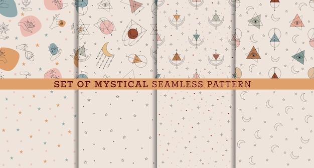 Vector set de patrones sin fisuras con coloridos signos de alquimia y mística