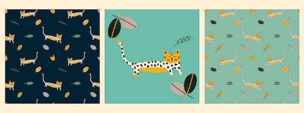 Vector set patrones con un tigre en hojas tropicales y la inscripción ar en el estilo escandinavo
