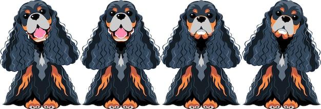 Vector set perros american cocker spaniel negro y oro sentado icono diseño plano