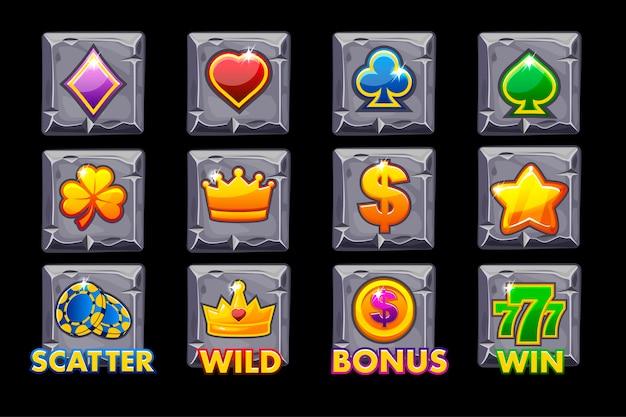 Vector set slots iconos en cuadrado de piedra para máquinas tragamonedas o casino.