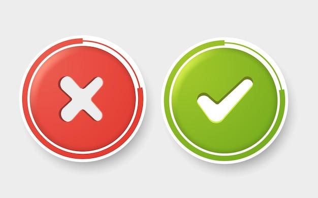 Vector sí y no marcas de verificación en círculos de colores