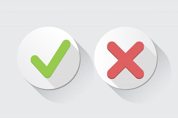 Vector sí y no marcas de verificación