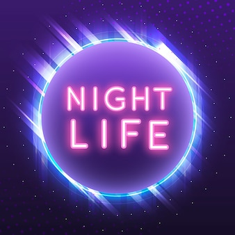Vector de signo de neón rosa vida nocturna