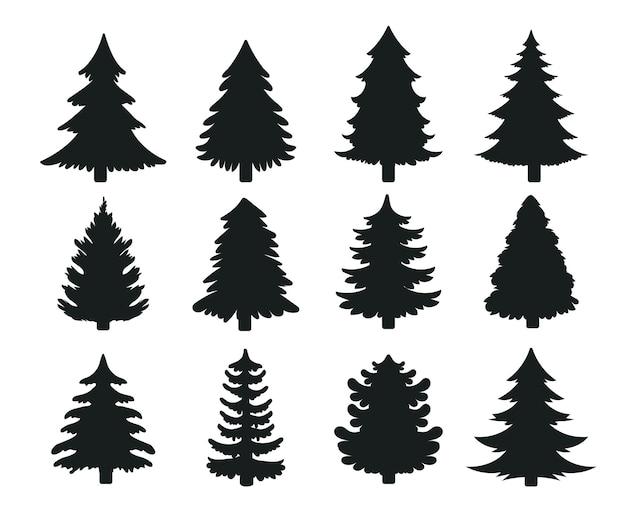 Vector de silueta de árbol de navidad para decorar con regalos y estrellas en nochebuena