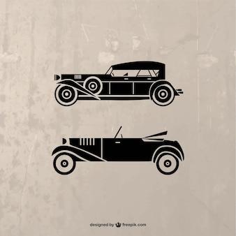 Vector de silueta de coches retro
