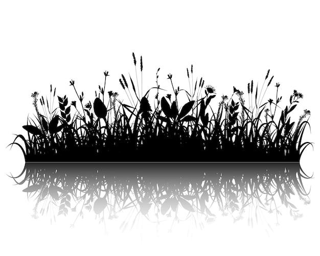 Vector de silueta de hierba