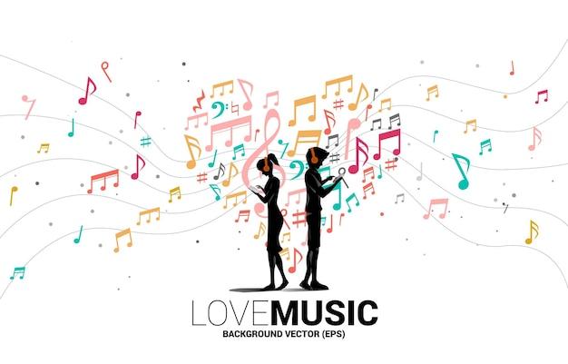 Vector silueta hombre y mujer con teléfono móvil y auriculares y corazón de flujo de baile de nota de melodía de música. antecedentes del concepto de tema de canción y concierto.