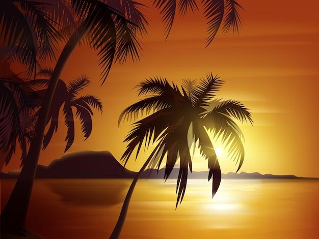 Vector silueta de palmeras con puesta de sol naranja, mar y rocas