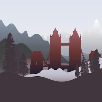 El vector de silueta del puente de londres