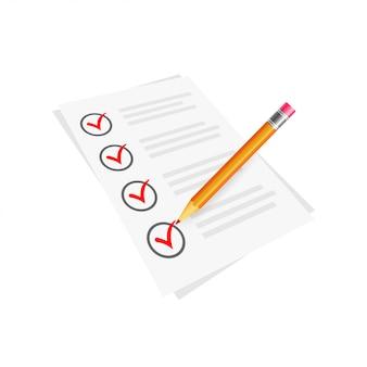 Vector símbolo de marca de verificación roja e icono en la lista de verificación con lápiz para diseño aprobado