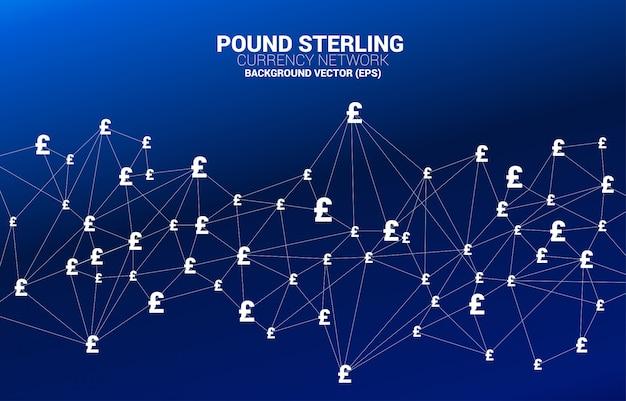 Vector símbolo de moneda libra esterlina dinero de línea de conexión de polígono. concepto de conexión de red financiera británica.