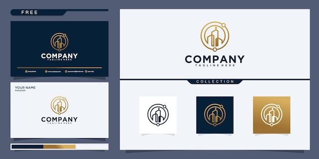 Vector símbolo de plantilla de logotipo de edificio y propiedad con icono de arte de línea creativa. diseño de logotipo y tarjeta de presentación
