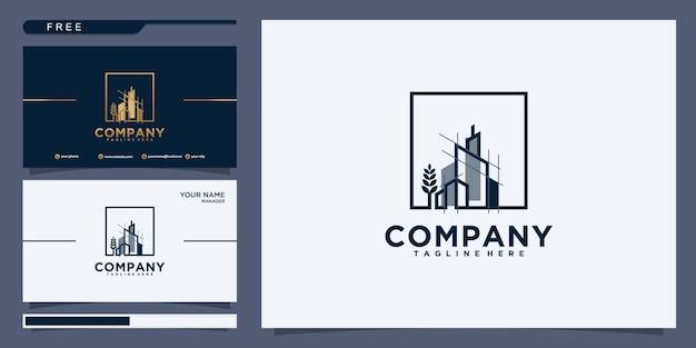 Vector símbolo de plantilla de logotipo de edificio y propiedad con icono de arte de línea creativa. ilustración minimalista de diseño de arquitectura inmobiliaria para agencia y empresa.