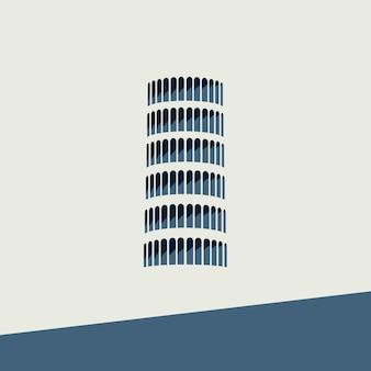 Vector símbolo de la torre de pisa en diseño plano.