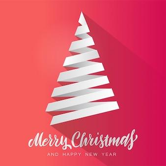 Vector simple árbol de navidad hecho de franja de papel blanco