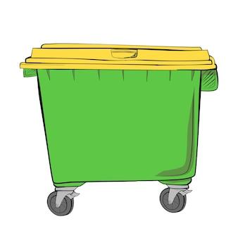 Vector simple mano dibujar boceto, amarillo y verde gran basura vacía limpia