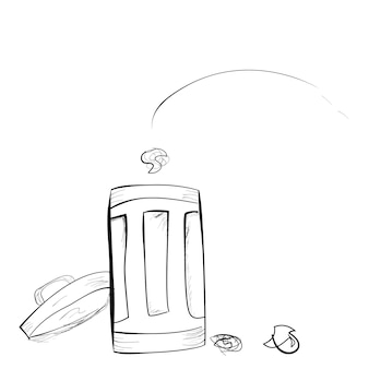 Vector simple mano dibujar boceto, papelera tirada a la papelera en fondo blanco.
