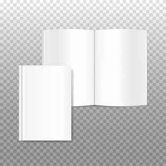 Vector simulacro de portada del libro blanco en blanco aislado en transparente