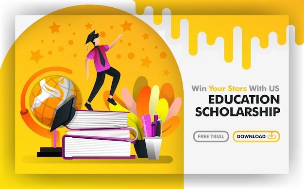 Vector sitio web beca de educación en línea