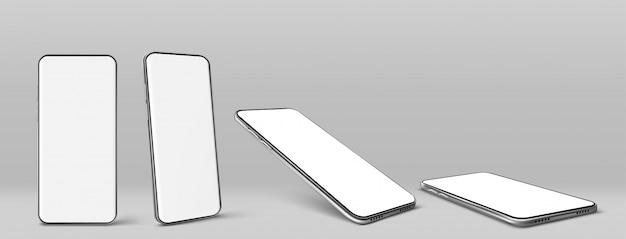 Vector smartphone con pantalla en blanco en blanco