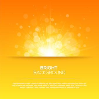Vector de sol brillante, rayos de sol, rayos de sol, fondo amarillo bokeh